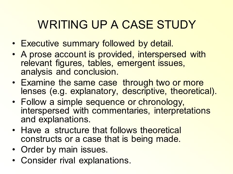 executive summary template case study