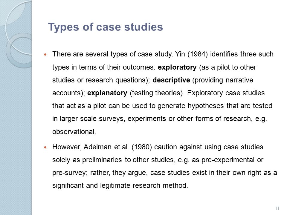 Types of case studies in marketing research