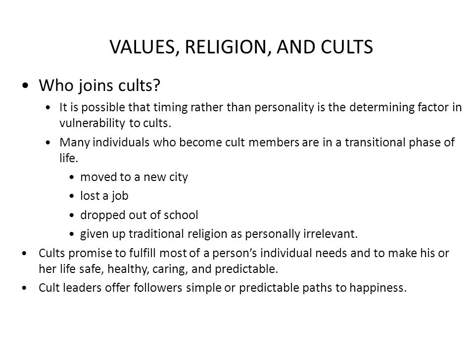 the question of when a religion become a cult and when a cult becomes a religion The term cult usually refers to a social group defined by becomes a justification for violence the future of religion: secularization, revival and cult.