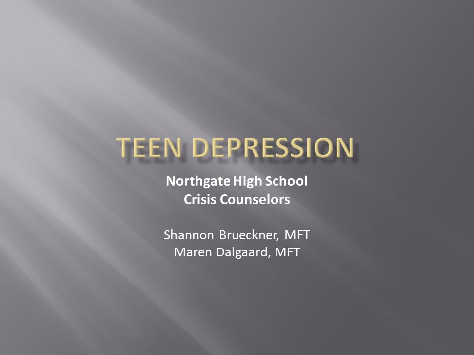 Teen Depression Northgate High School Crisis Counselors