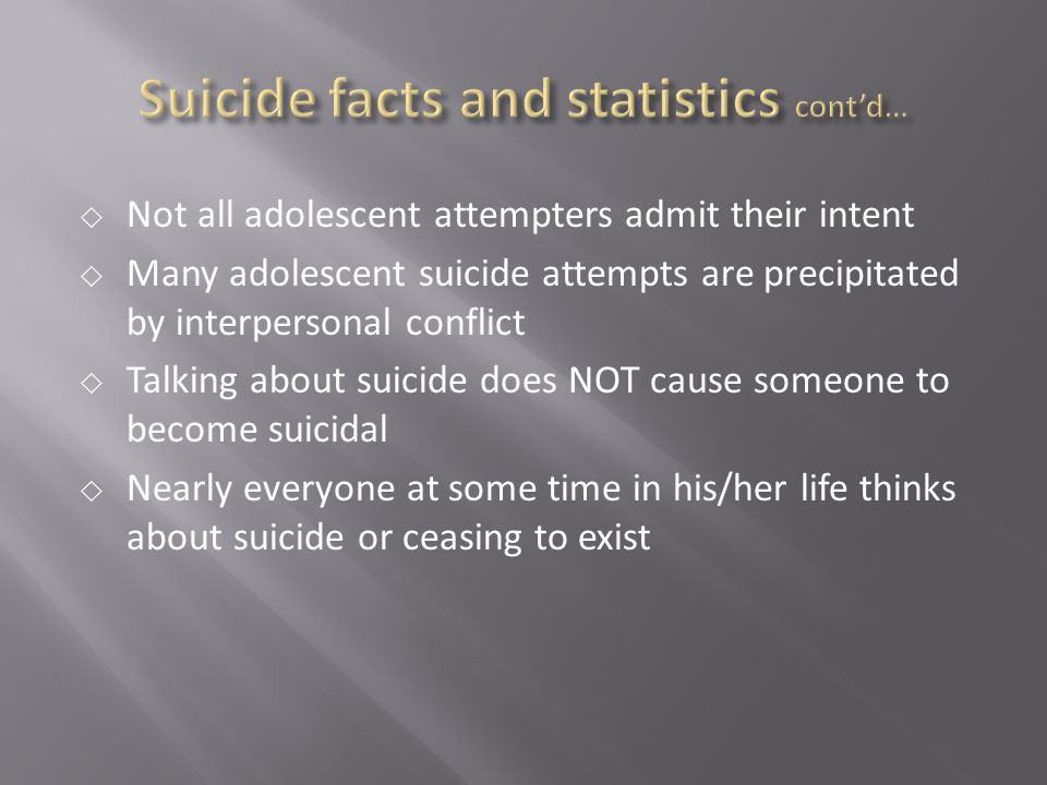 Suicide facts and statistics cont'd…