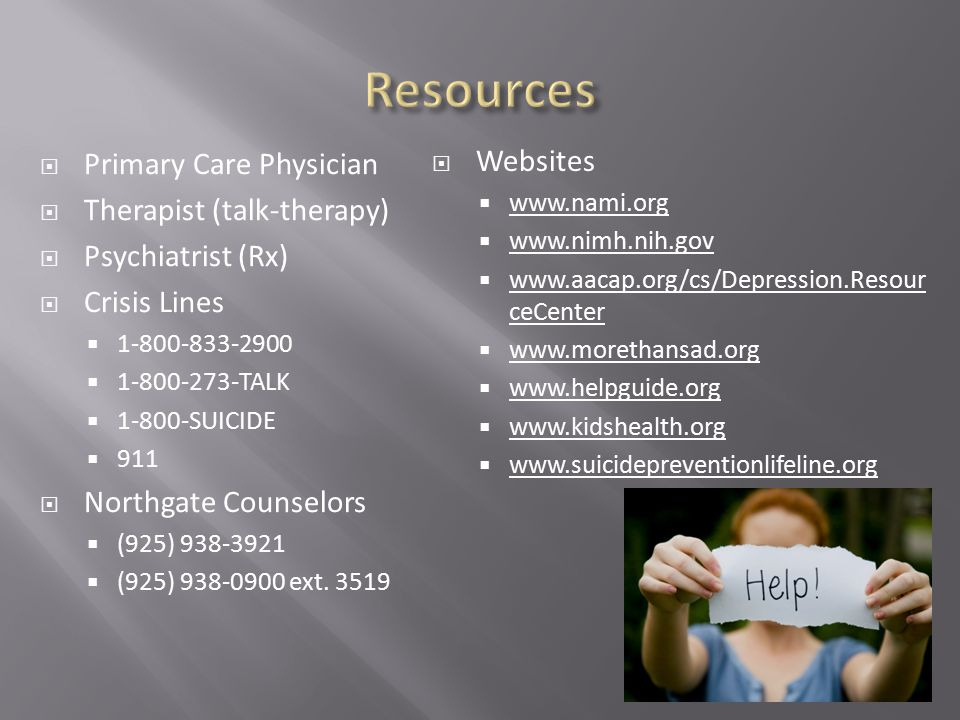 Resources Primary Care Physician Websites Therapist (talk-therapy)