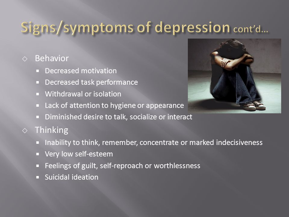 Signs/symptoms of depression cont'd…