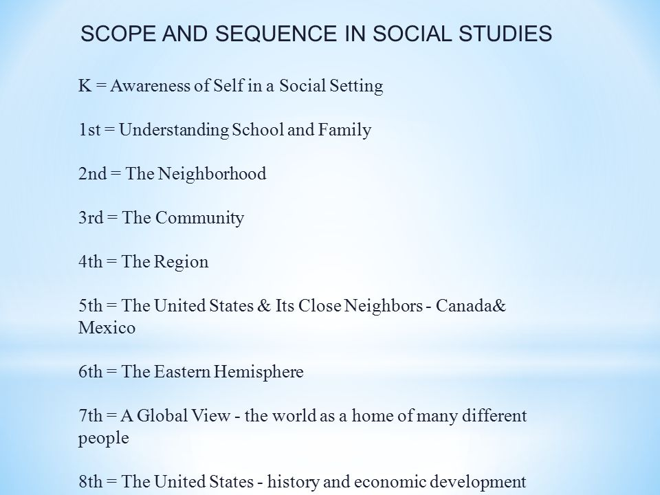 SCOPE AND SEQUENCE IN SOCIAL STUDIES