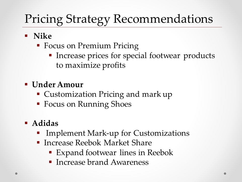 pricing strategy of reebok Nike inc generic strategy (porter's), intensive growth strategies, competitive advantage, strategic objectives, and shoes business case study and analysis.