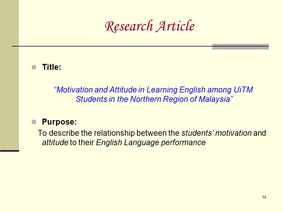 Research Article Title: