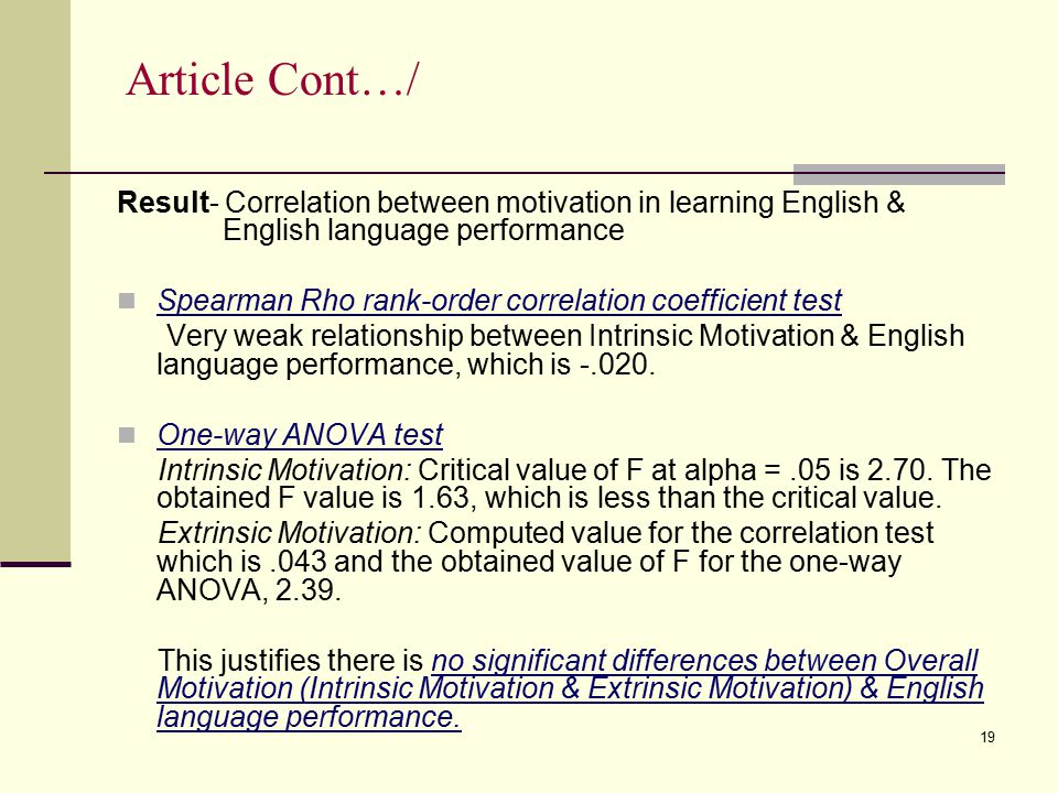 Article Cont…/ Result- Correlation between motivation in learning English & English language performance.