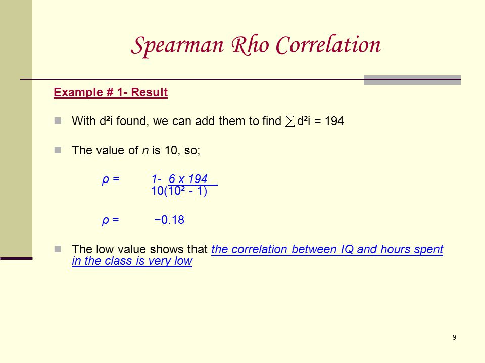 Spearman Rho Correlation
