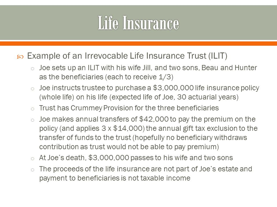 Life Insurance Example of an Irrevocable Life Insurance Trust (ILIT)