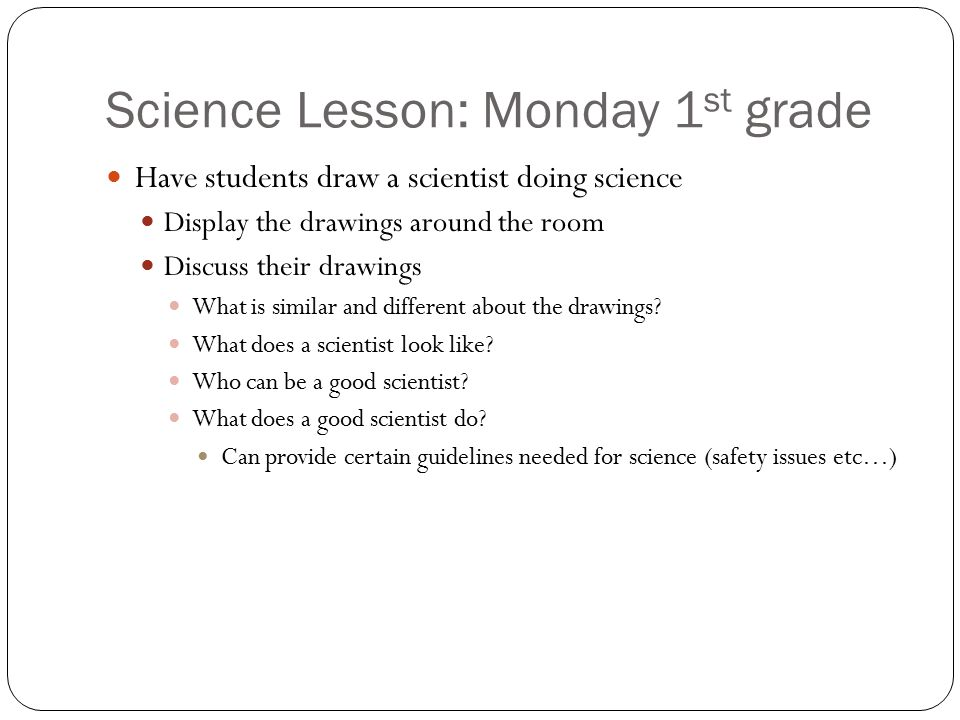 Science Lesson: Monday 1st grade