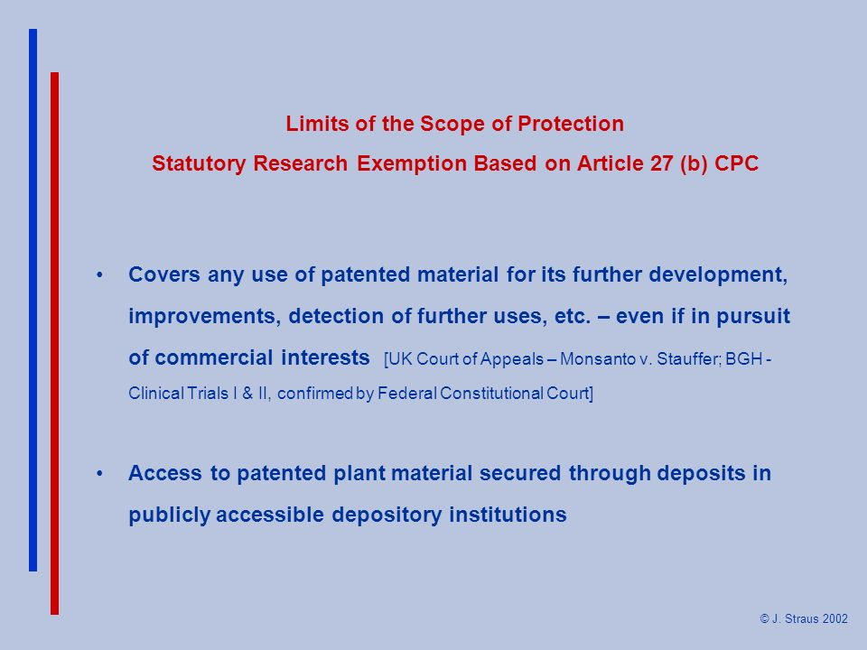Limits of the Scope of Protection Statutory Research Exemption Based on Article 27 (b) CPC