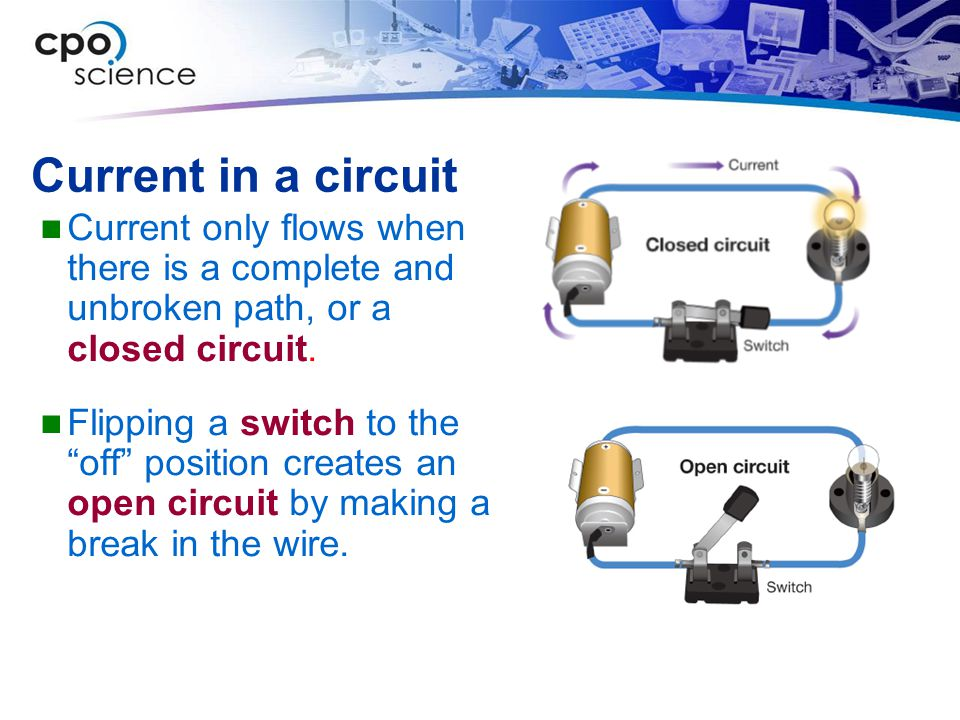 Current in a circuit Current only flows when there is a complete and unbroken path, or a closed circuit.