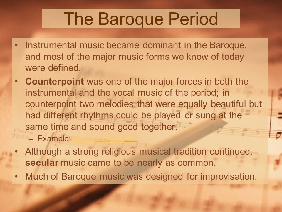 music in the baroque period Video created by yale university for the course introduction to classical music novelists, poets, painters, mathematicians, and even geologists talk about fugue-like structure in their media and disciplines.