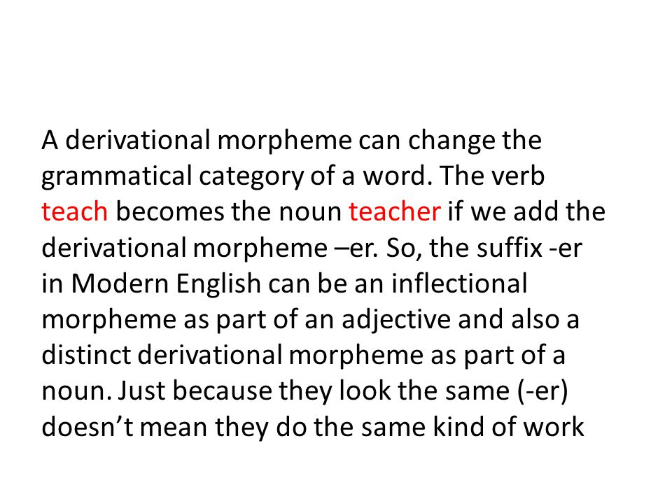 A derivational morpheme can change the grammatical category of a word