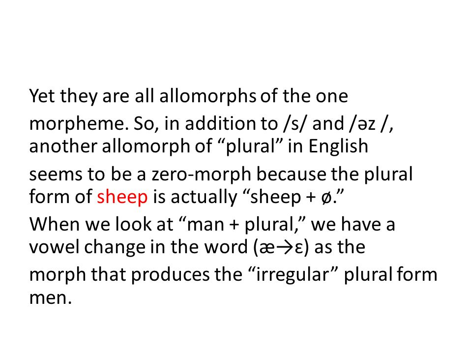 Yet they are all allomorphs of the one morpheme