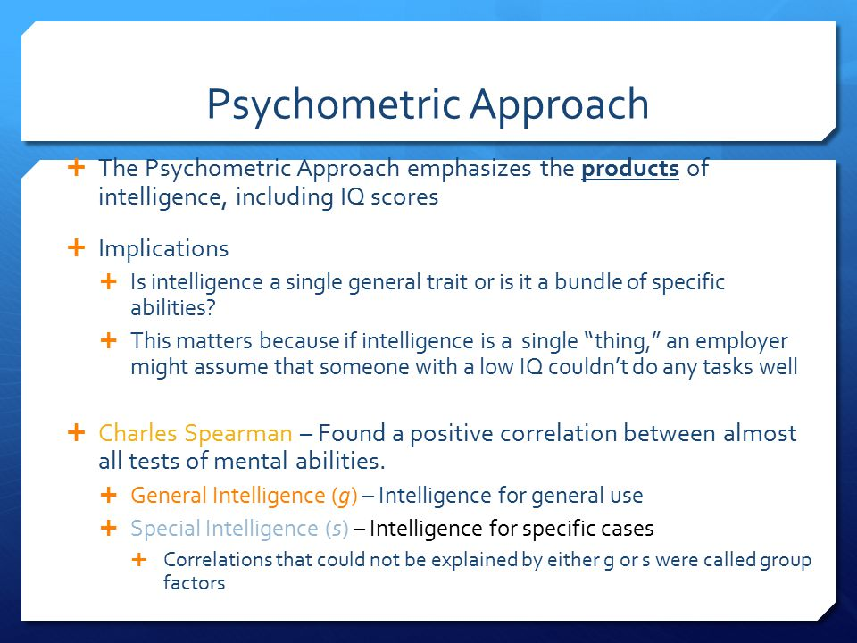 psychometric approach to intelligence pdf