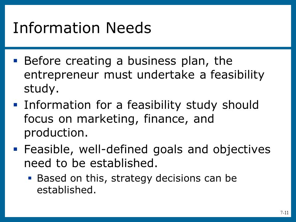 Information Needs Before creating a business plan, the entrepreneur must undertake a feasibility study.