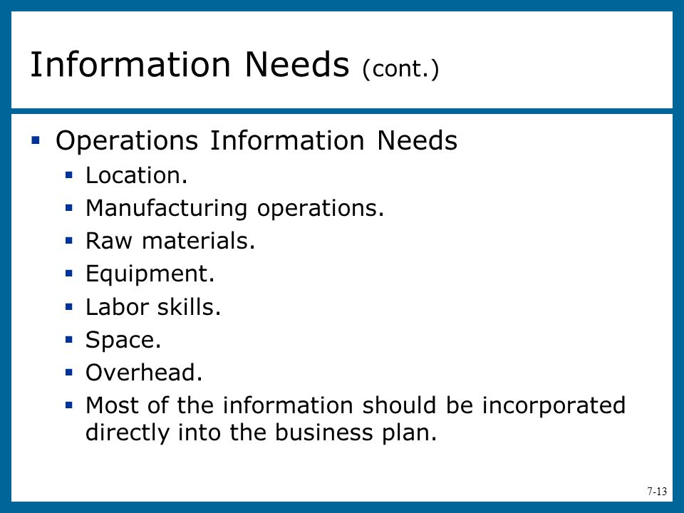 Information Needs (cont.)