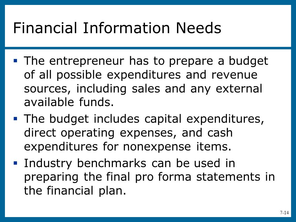 Financial Information Needs