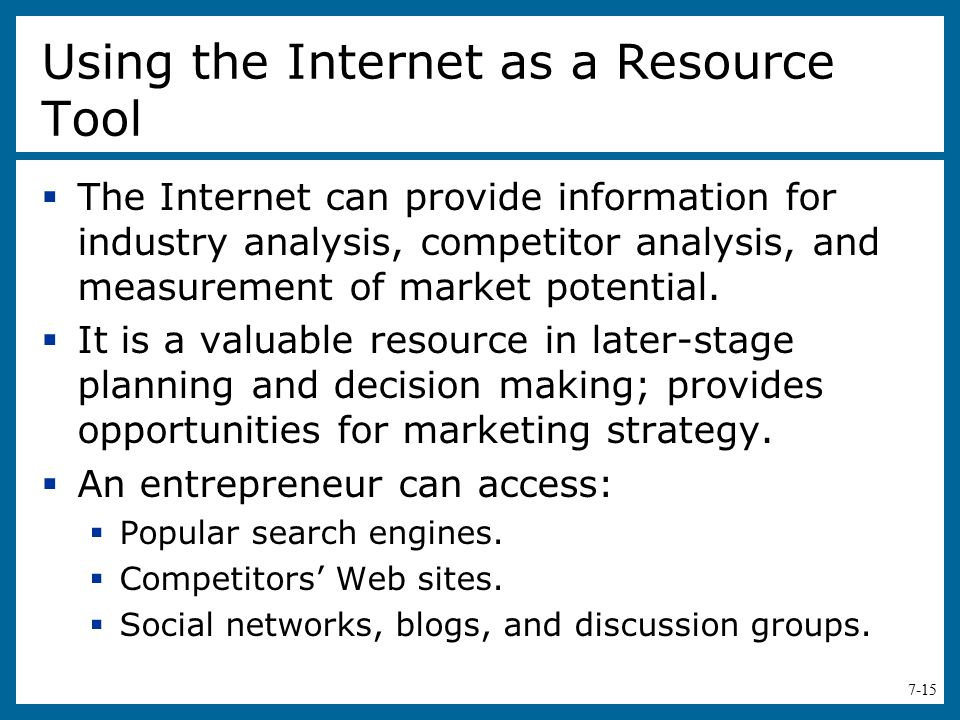 Using the Internet as a Resource Tool
