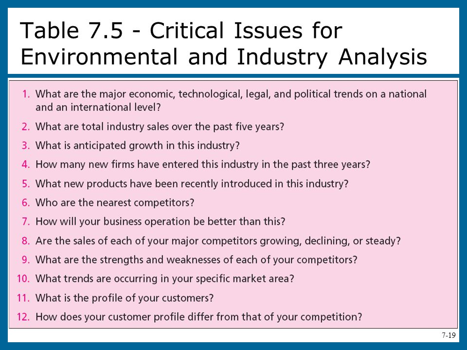 Table Critical Issues for Environmental and Industry Analysis