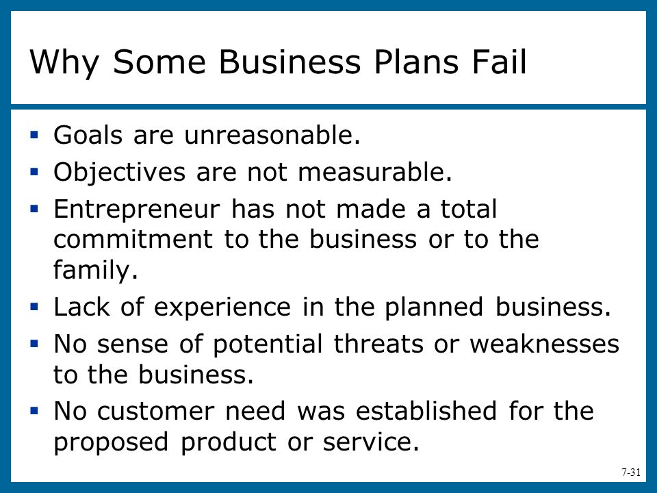Why Some Business Plans Fail