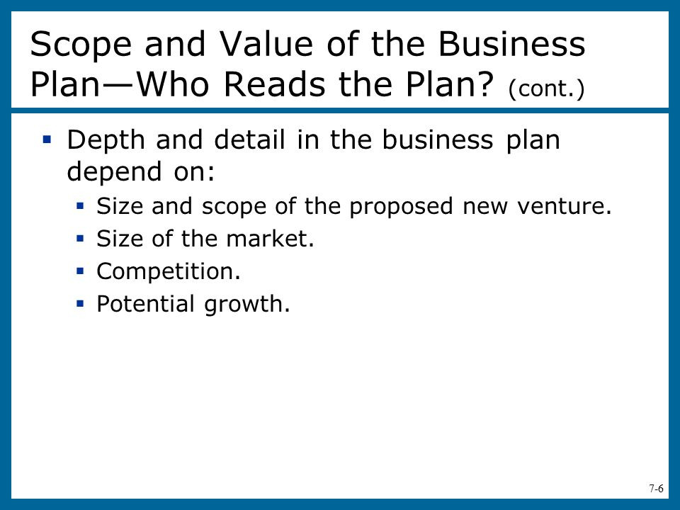 Scope and Value of the Business Plan—Who Reads the Plan (cont.)