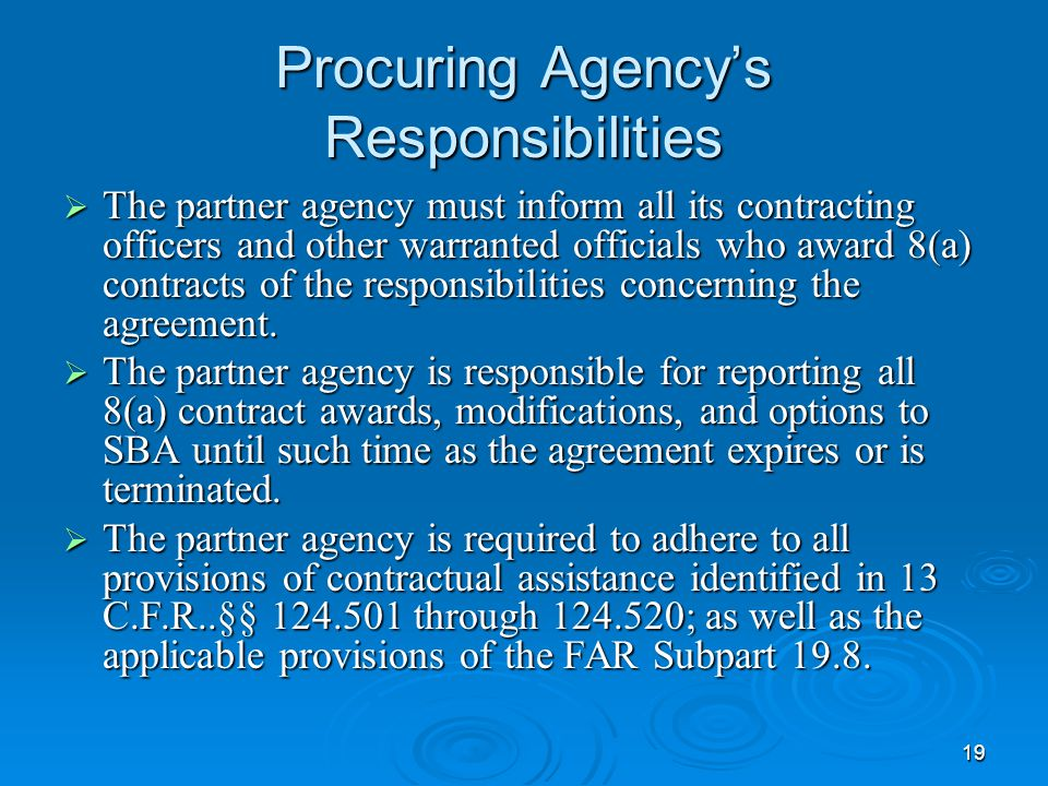 Procuring Agency's Responsibilities