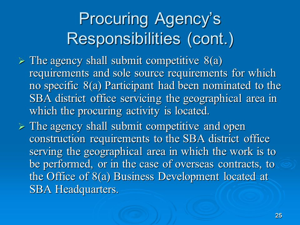 Procuring Agency's Responsibilities (cont.)