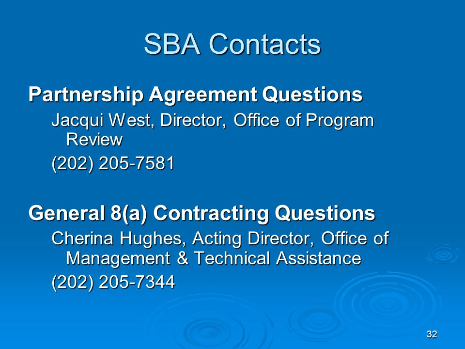 SBA Contacts Partnership Agreement Questions