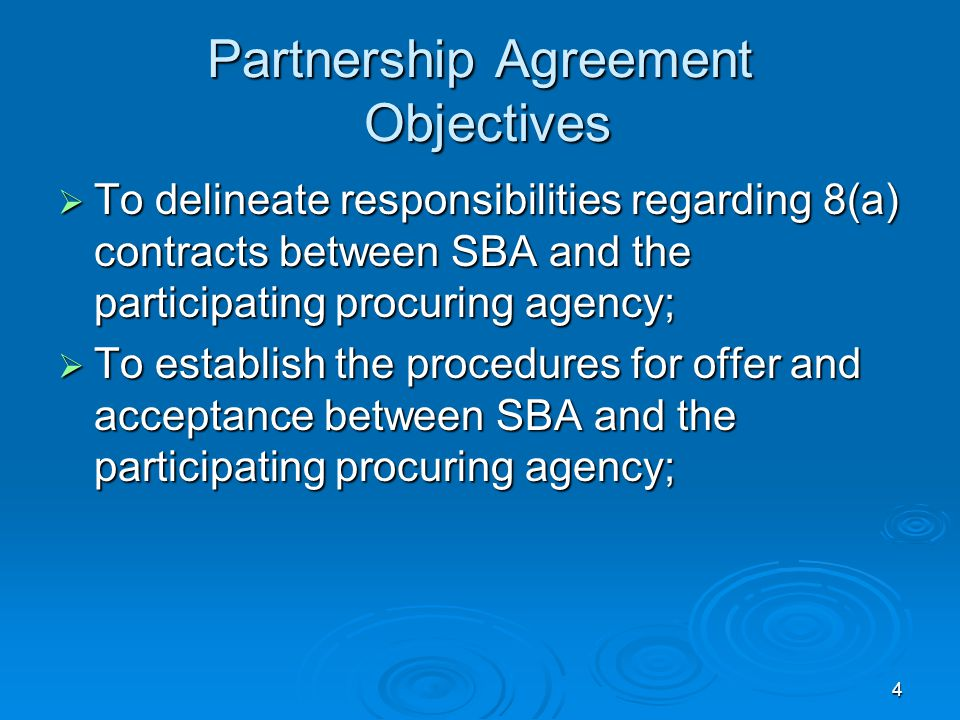 Partnership Agreement Objectives