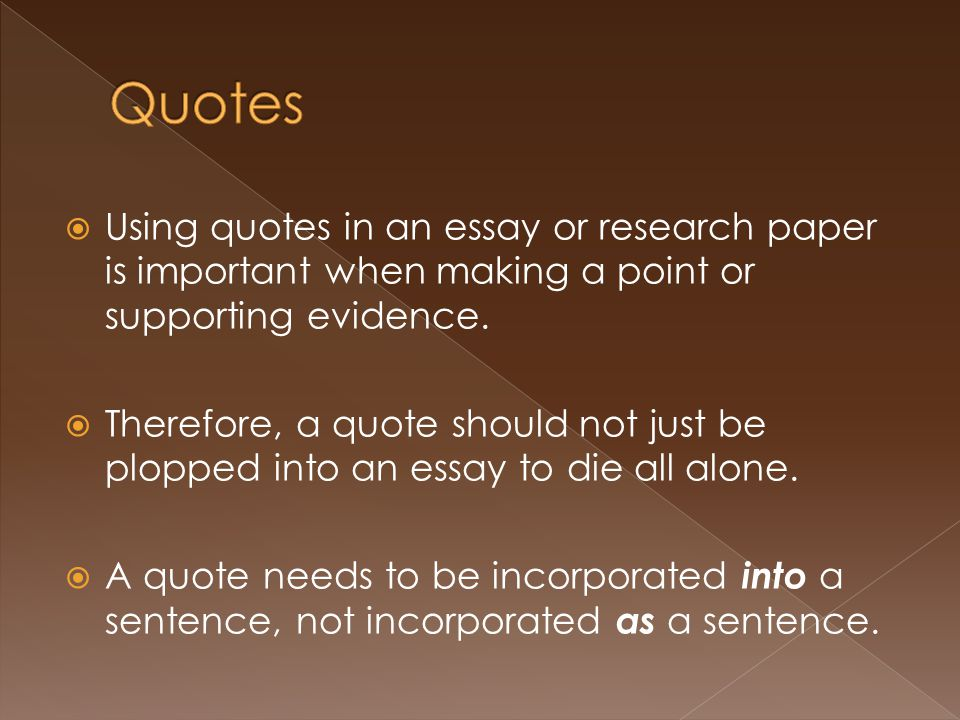 quotes within a research paper Integrating quotes and paraphrases in research papers if you lack personal experience in a subject, you will turn to sources to learn what you need to.