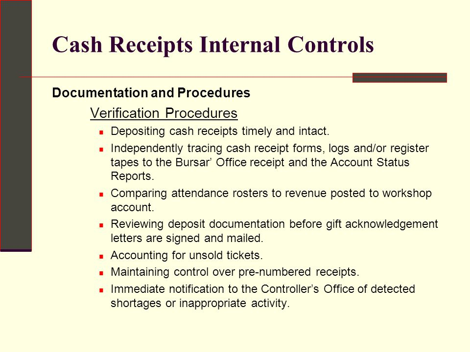 Thesis on internal control over cash