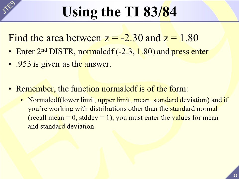 Chapter 6 normal probability distributions ppt video online using the ti 8384 find the area between z 230 and z ccuart Gallery
