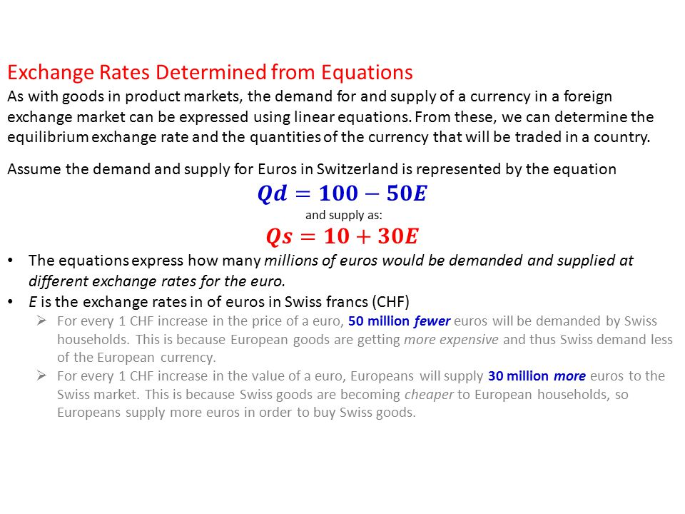 how is exchange rate determined how The rate of exchange is the price of one currency in terms of another rate of exchange is determined by demand and supply how the value of currency may rise: more demand abroad for home produced goods more payment received from abroad for home produced goods supply of foreign currency increases demand for your currency.