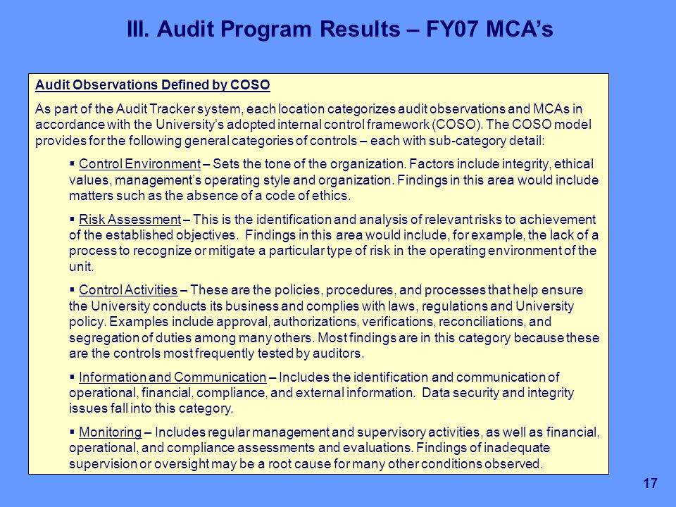 University Of California Internal Audit Activities - Ppt Download