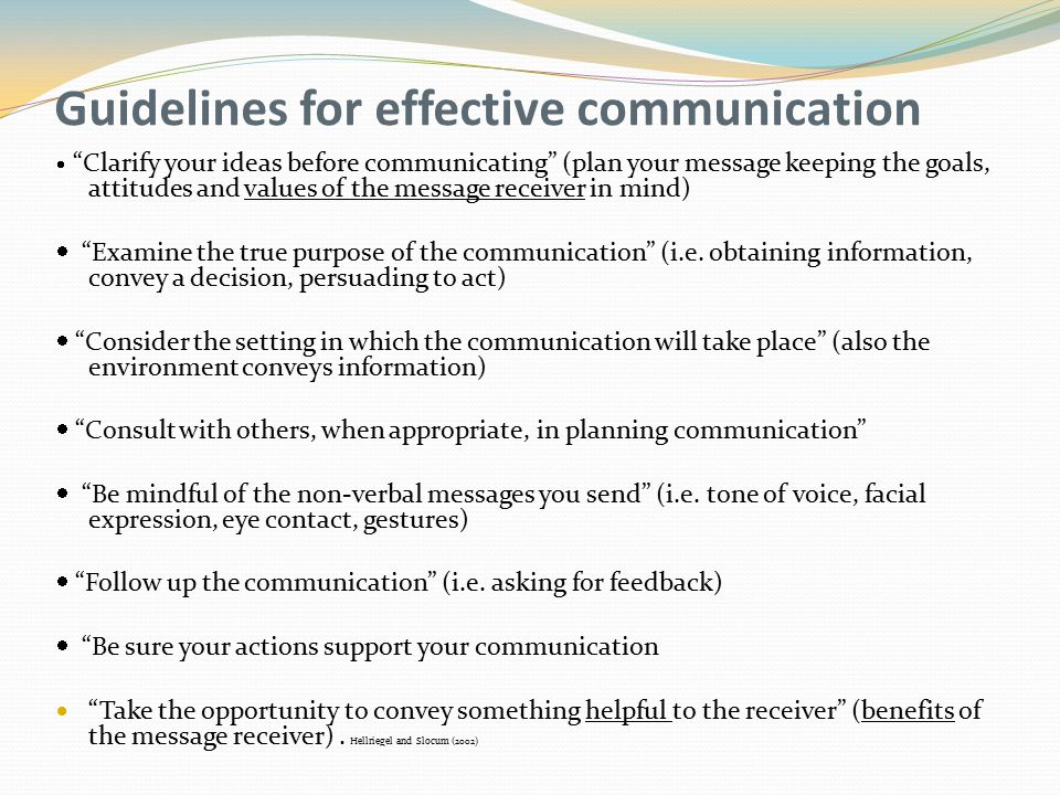 Guidelines for effective communication