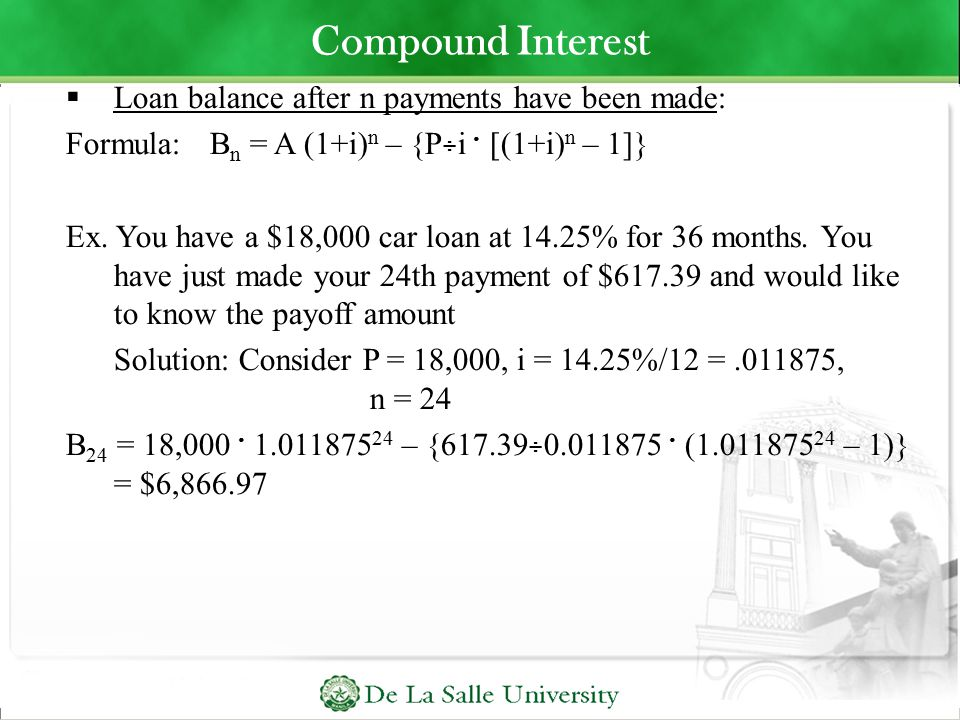 how to know number of payments and compound