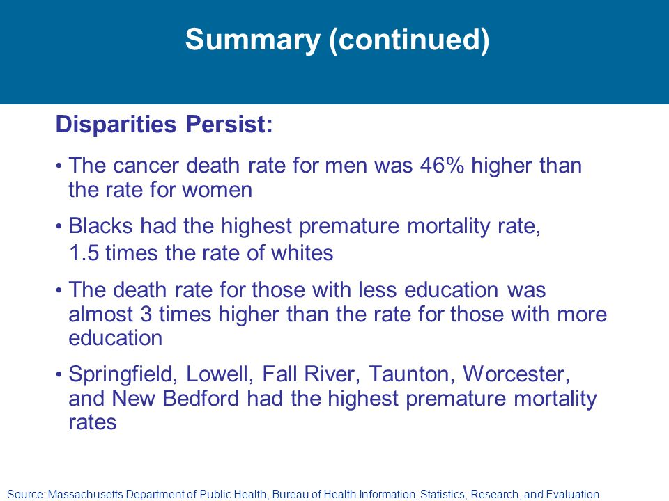 Summary (continued) Disparities Persist:
