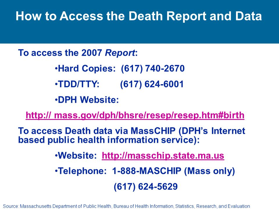 How to Access the Death Report and Data
