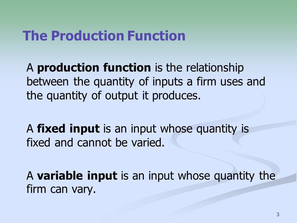 the production function gives relationship between supply and demand