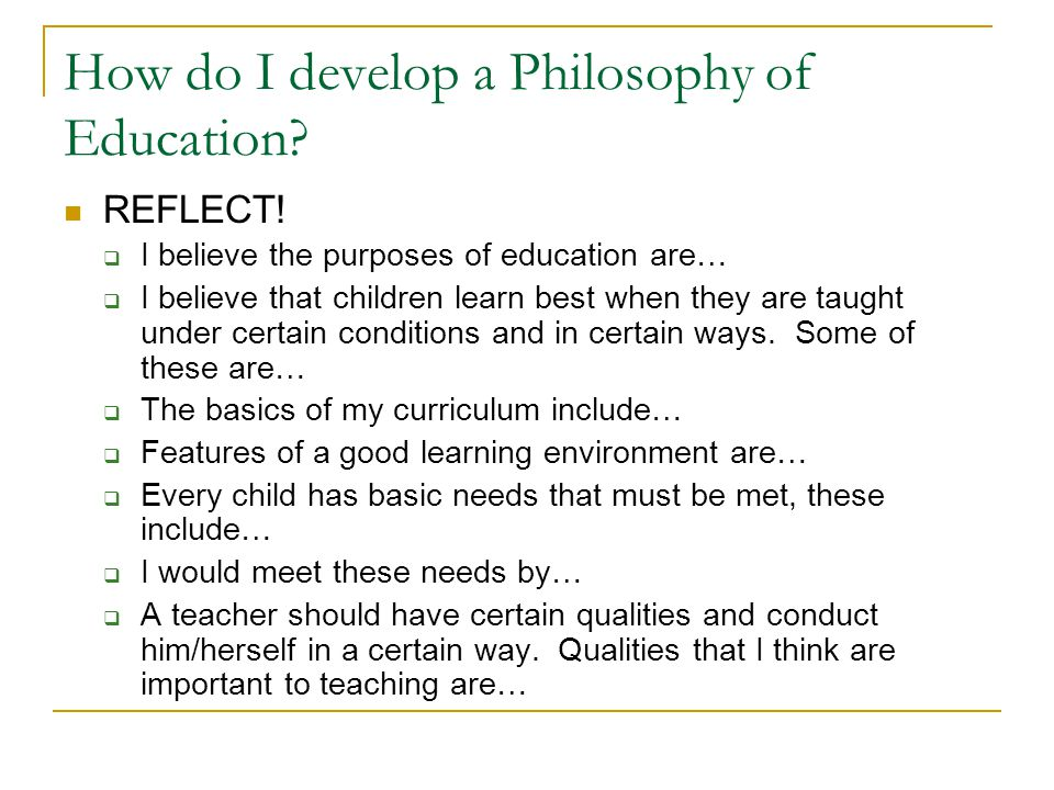 Importance of philosophy in the teaching and learning process