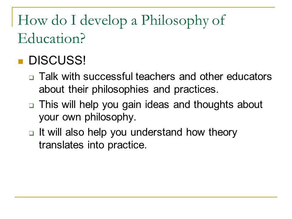 developing a philosophy of education City school embraces charlotte mason's philosophy of education, the aim of   we aim to create a beautiful and orderly environment and develop character.