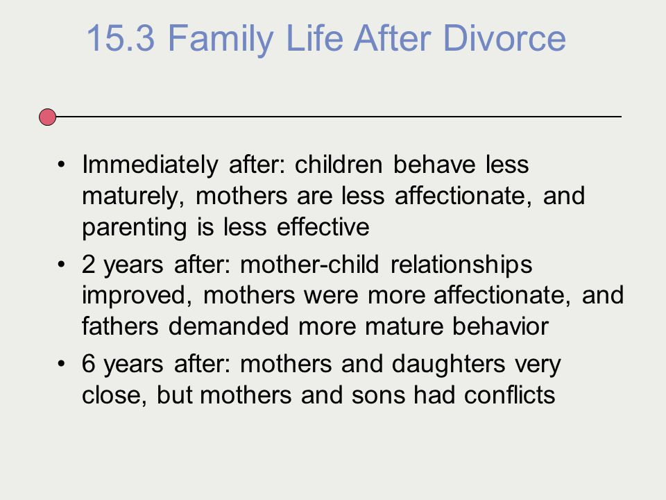 divorce and its effect family life Divorce continues to take a psychological toll on kids  worrying things about how divorce might affect all kids in the long run  are also happier in their marriages and with their family life.
