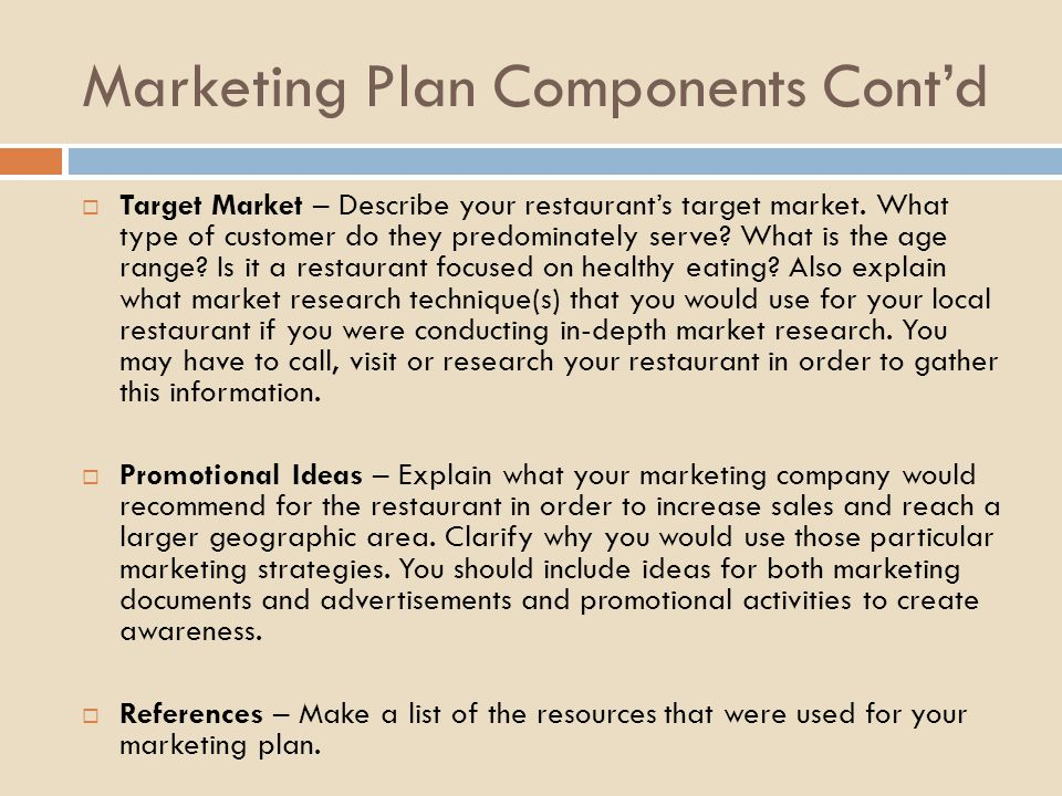 Creating A Marketing Plan For A Local Restaurant  Ppt Video Online
