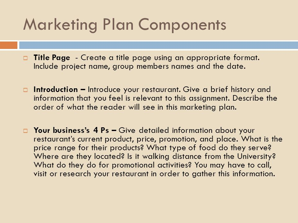 Creating A Marketing Plan For A Local Restaurant  Ppt Download