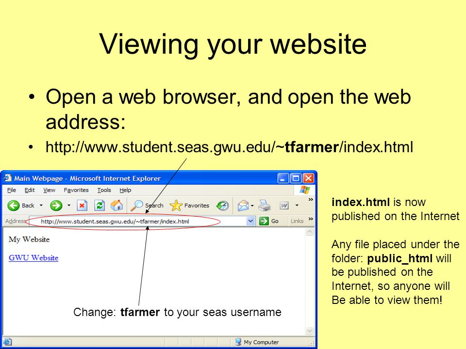 Viewing your website Open a web browser, and open the web address: