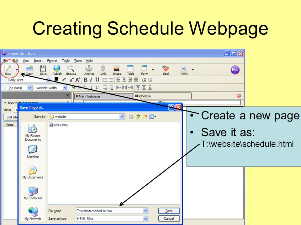 Creating Schedule Webpage