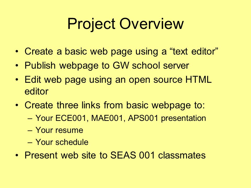 Project Overview Create a basic web page using a text editor