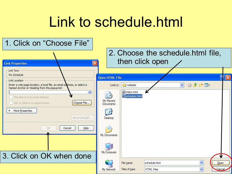 Link to schedule.html 1. Click on Choose File